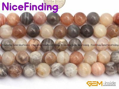 Natural Sunstone Round Loose Stone Beads For Jewelry Making Gemstone Strand 15""
