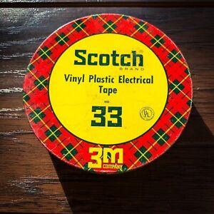 Vintage SCOTCH 3M Vinyl Plastic Electrical Tape No. 33 Tin w/ Tape NOS