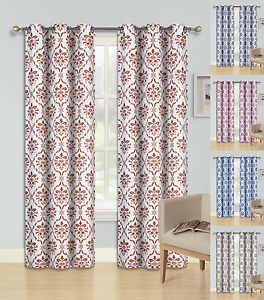 NEW 2 PRINTED SILVER GROMMET PANELS LINED BLACKOUT WINDOW CURTAIN DINO BROWN