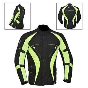Green-Black-Men-039-s-Motorcycle-Motorbike-Jacket-Waterproof-Textile-CE-Armoured