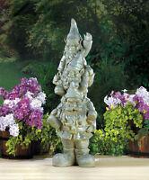 "Verdigris Ceramic 3 Weathered 35"" Tall Big Totem Gnome Lawn Art Statue Outdoor"