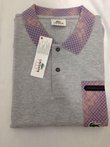 Lacoste sport men's polo shirt en gris top t-shirt genuine