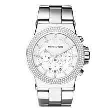 Michael Kors MK5385 Dylan Glitz Silver Chrono Watch 42MM BRAND NEW AUTHENTIC