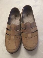 Clarks Privo Womens Size 11 M Tan Flat Leather Casual Shoes 26064919 VGUC