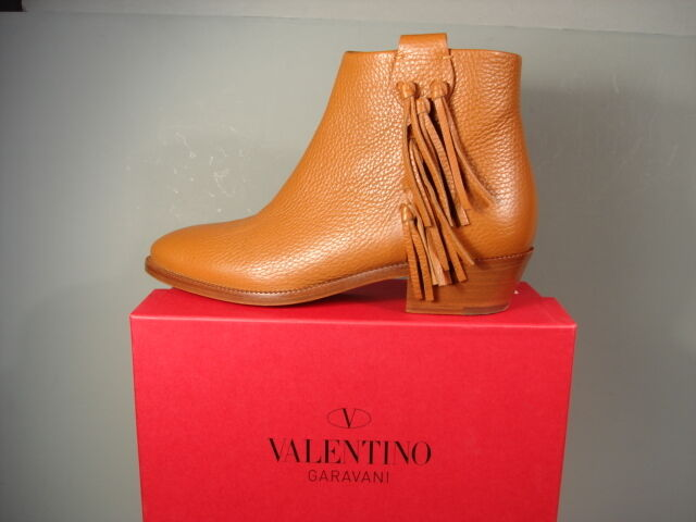 Valentino Caramel Rockee  Leder Fringe Classic Ankle Stiefel Bootie schuhes 37 New