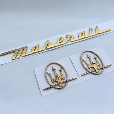 Maserati Quattroporte GranTurismo,Ghibli Levante GOLD Emblem Badges 4 PCS