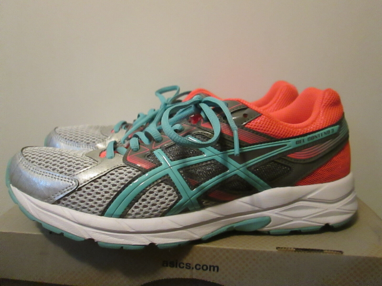 Asics Gel Contend 3 Silver Pool bluee Flash Coral Running Training shoes Size 9.5