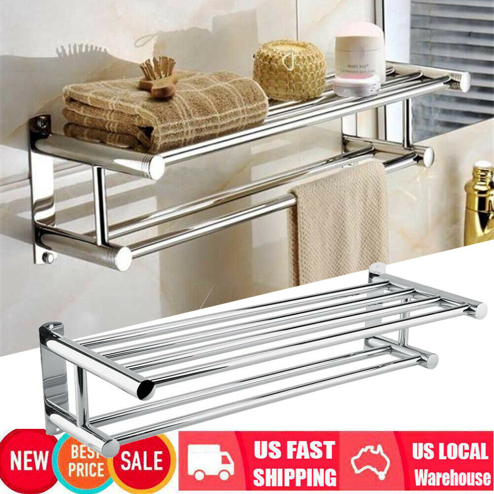 Premium 304 Stainless Steel 14-27 Inch Adjustable Double Towel Rack Shelf with Storage Hooks Easy to Install Never Rusts Designed for Bathrooms Wall Mount