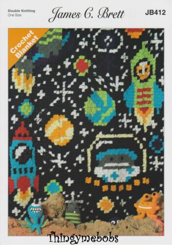 JAMES C BRETT JB412 SPACE CORNER TO CORNER//C2C BLANKET ORIGINAL CROCHET PATTERN
