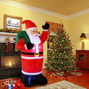 120cm inflatable santa with gift bag christmas light up outdoor decoration xmas - Outdoor Decorations For Christmas