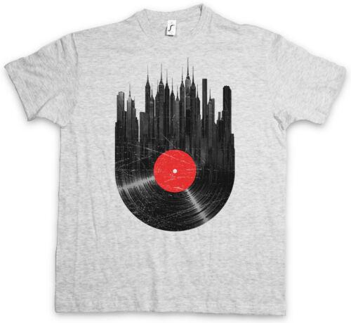 VINYL CITY T-SHIRT Schallplatte Club Disco Retro Music Plattenspieler DJ MC Disc