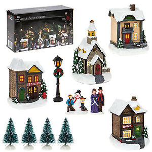 Details About Christmas Led Light Up Village Scene Battery Operated Mini 12 Piece Village
