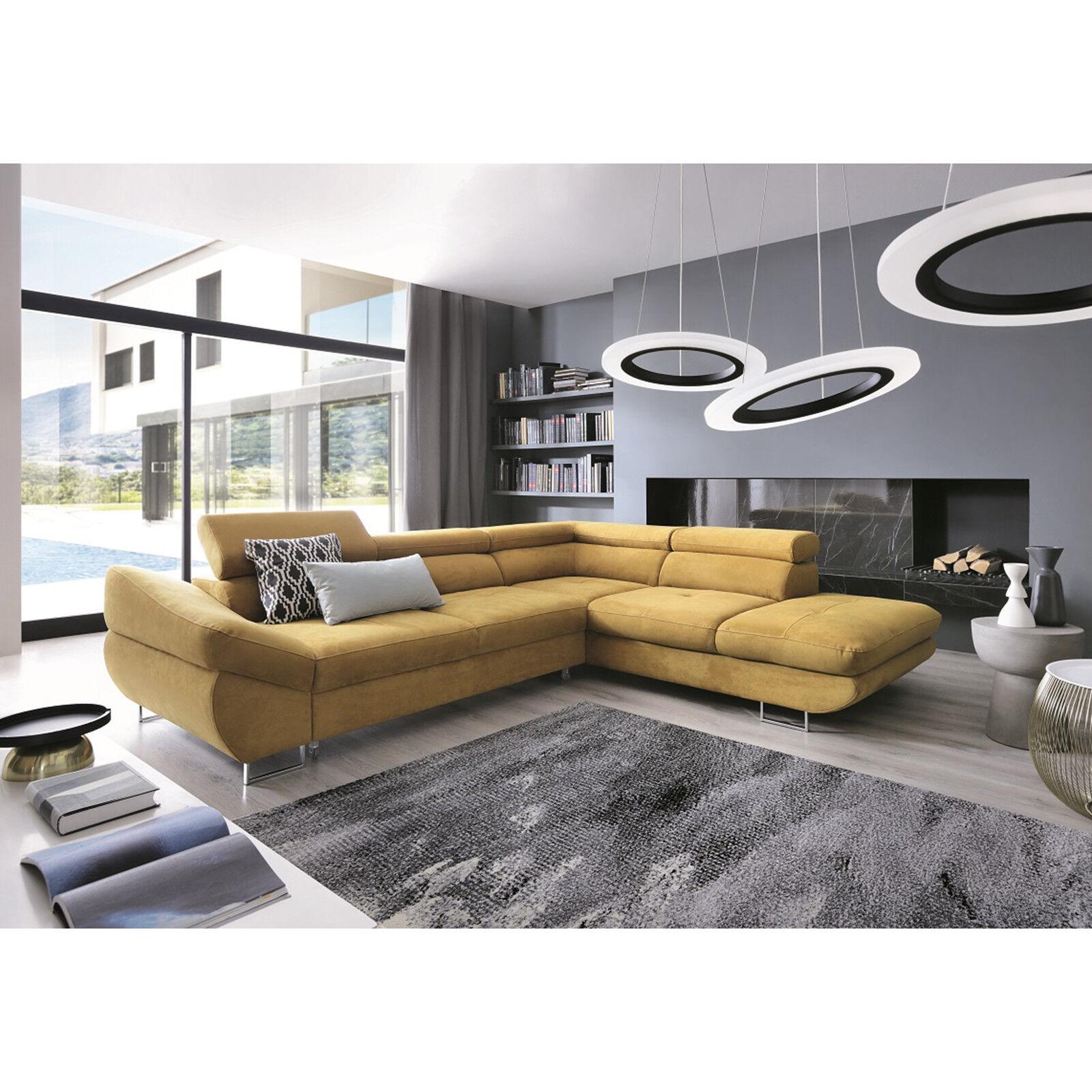 Details about Msofas Fabio Large Corner Modern Yellow Storage SofaBed  Living Room Furniture