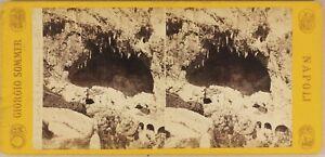 Italia-Amalfi-Grotte-c1865-Foto-Sommer-Stereo-Vintage-Albumina