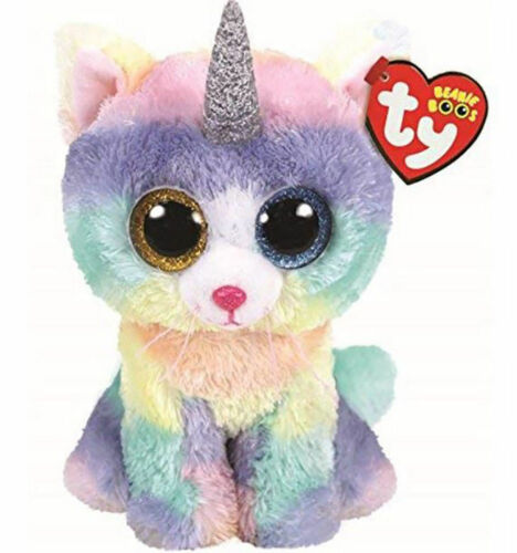 TY Beanie Boos Heather the Horned Cat with Horn with Heart Tags NEW