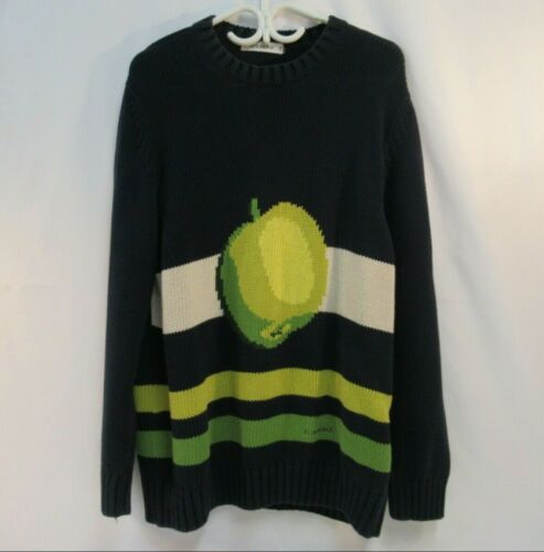 Iceberg Green Apple Sweater Cotton Navy Blue Crew
