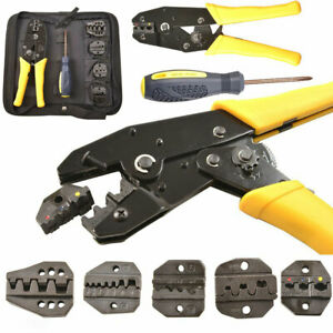 Cable-Crimper-Tool-Kit-Wire-Terminal-Ratchet-Plier-Crimping-Set-4-Spare-Parts