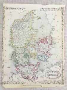 1848-Antik-Map-Of-Daenemark-Fuenen-Neuseeland-19th-Jahrhundert-Hand-Farbig-Gravur