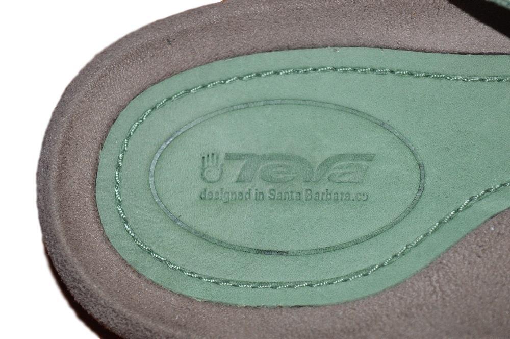 NWOB TEVA TEVA TEVA LADIES DOWNTOWN OLA MOSSTONE vert WATERPROOF LEATHER THONG SANDALS 7 b39202