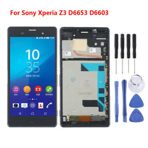 For-Sony-Xperia-Z3-D6653-D6603-LCD-Screen-Touch-Digitizer-Frame-Black-5-2-034-ARL02