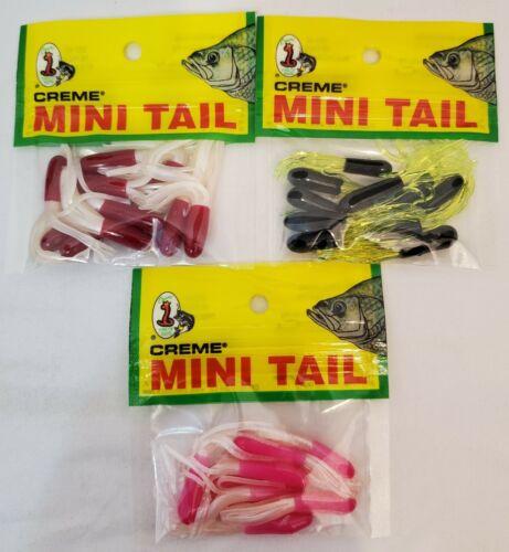 "Creme 1.5/"" Mini Tail Soft Tube Crappie Lure Red//White Black//Chart Pink//White 3Pk"