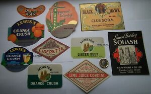 10-DIFFERENT-RARE-ANTIQUE-DRINK-LABELS-ONE-OFF-LISTING