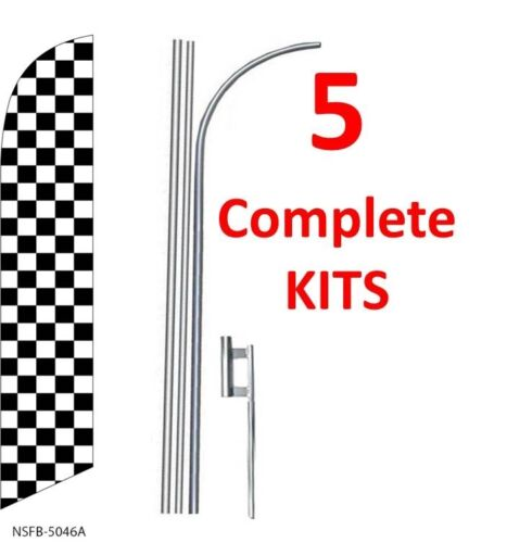 five CHECKERED black//white 15/' SWOOPER #3 FEATHER FLAGS KIT 5