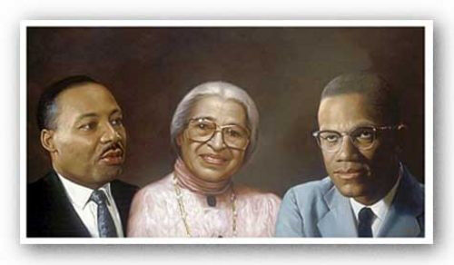 Rosa and Malcolm X by Andy H 20x36 Poster Martin AFRICAN AMERICAN ART PRINT