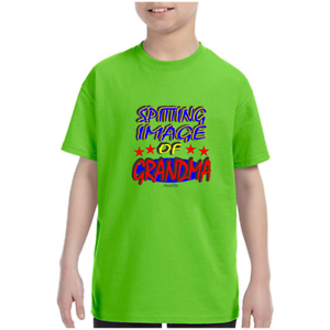 Details about  /Youth Kids T-shirt Spitting Image Of Grandma