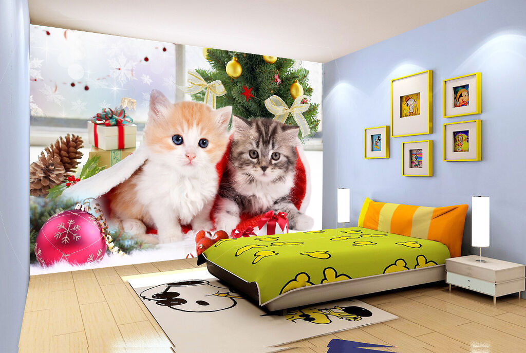 3D Cat Christmas Tree 22 Wall Paper wall Print Decal Wall Deco Indoor wall Mural