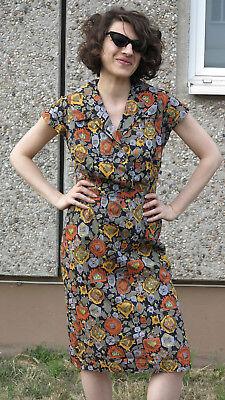 Maag Lotos Donna Vestito Abito 60er Moda Da Donna 60s True Vintage Women Dress Astratto-mostra Il Titolo Originale