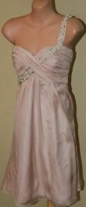 Womens-Champagne-Soft-Pink-1-Shoulder-Bead-Dress-Forever-New-Size-10