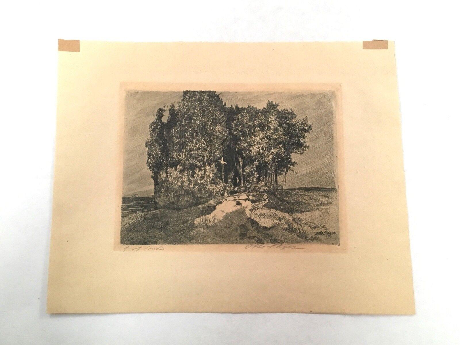 Antiguo Otto Sager Lápiz grabado al aguafuerte de impresión en papel