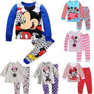 2pcs-Kids-Baby-Boys-Girls-Mickey-Minnie-Mouse-Sleepwear-Nightwear-Pjs-Pajama-Set