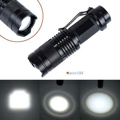 CREE T6 LED Mini Flashlight 14500 AA Torch 2000LM Zoomable Lamp Light Black MT