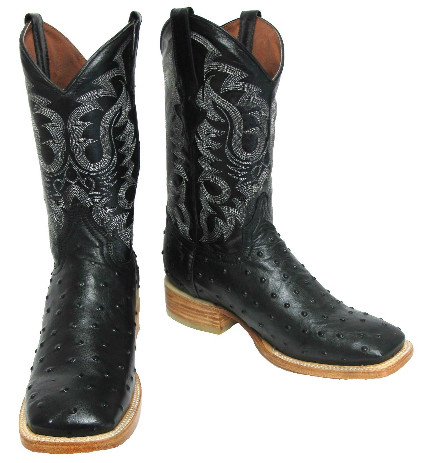 Men's New TW Ostrich Design Leather Cowboy Western Square Boots Black