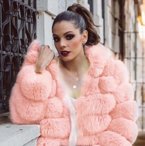 corta da Pelliccia Cappotto cappuccio Outwear lusso Sbox di Soprabito donna Calda spessa con Giacca qFSAwXS