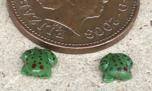 1:12 Scale 2 Green Polymer Clay Frogs Tumdee Dolls House Garden Pet Accessory U