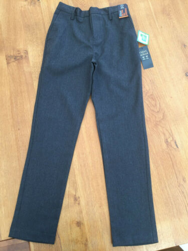 SLIM FIT NEXT Boys Grey Straight Leg Pull-On School Trousers BNWT