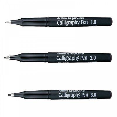 Black Pack of 12 Artline Ergoline 2.0mm Calligraphy Pen