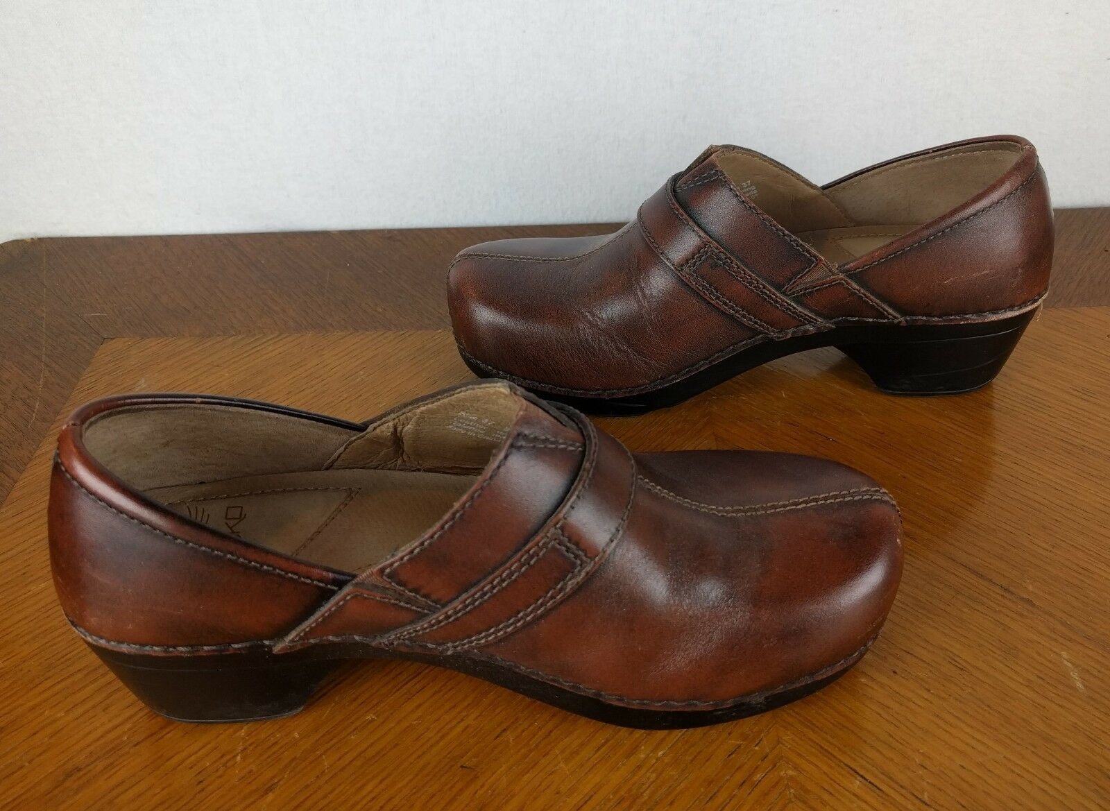 Dansko Brown Brown Brown Slip On Clogs shoes Womens Sz 37 Mid Calf Boots Work Nurse Solstice 8c1558