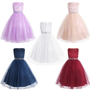 Girls-Kids-Baby-Flower-Party-Sequins-Dress-Princess-Occasion-Wedding-Bridesmaid