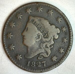 1827-Coronet-Large-Cent-US-Copper-Type-Coin-Genuine-Penny-Very-Good-M40-VG