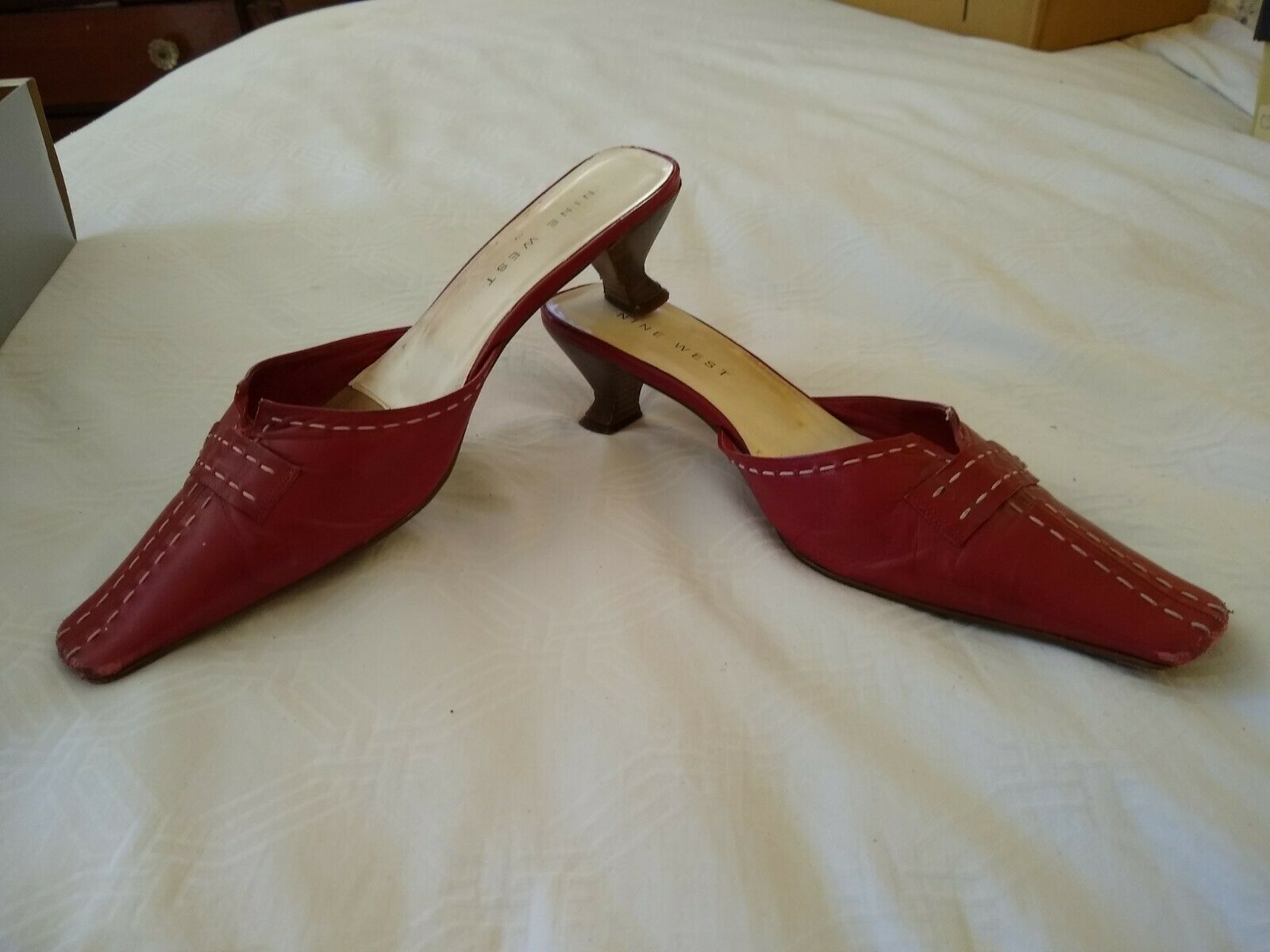 Vintage 90s Red Mules Shoes 9.5M Shaped Heel - image 3