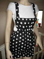 Unique Black White Polkadots Dungerees Bloomers Pantaloons Sissy Lolita Shorts