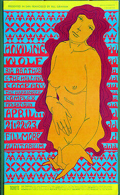 BG60 Howlin' Wolf BIG BROTHER 1967 Original Fillmore Concert Poster Wes Wilson