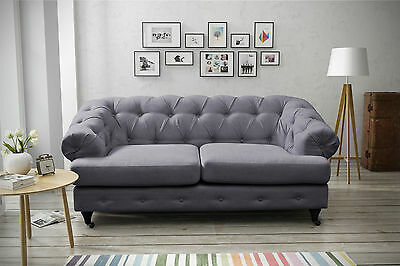 competitive price 555de 941d8 NEW DESIGNER MAYFAIR GREY FABRIC CHESTERFIELD SOFA 2 SEATER | eBay