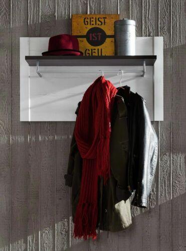 Garderobenpaneel Dakota Garderobe Absetzung dunkel braun Pinie Weiß
