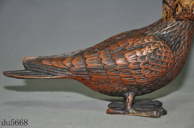 "8.1/""Collect Chinese Fengshui Bronze Animal Peace Dove Carrier Pigeon Bird Statue"