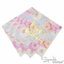 Floral 'Happy Birthday' Paper Napkins -Tea Party-TRULY SCRUMPTIOUS RANGE IN SHOP